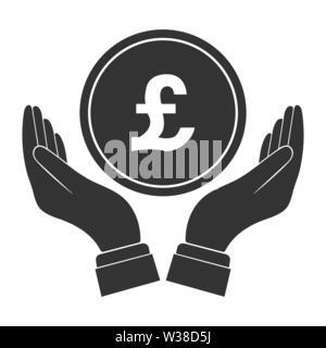 Coloca en la palma de tu mano cae la moneda con el símbolo £. Diseño plano Imagen De Stock