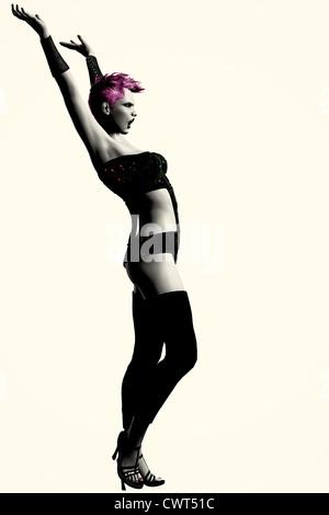 Ilustración digital foto-realistas de un punk-rock moderno, Rubia modelo de moda en llegar a plantear. Imagen De Stock