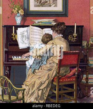Lección de piano en 1880 Imagen De Stock