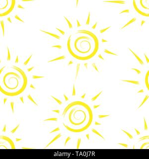 Patrón sin fisuras con sun pintadas. Diseño de fondos, fondos de pantalla, tapas, envases y material. Imagen De Stock