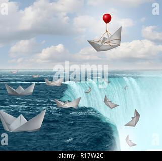 La protección del seguro y de la aversión al riesgo símbolo de seguridad como barquitos de papel en peligro con uno guardado por un globo como un concepto de aseguramiento de la cobertura. Imagen De Stock