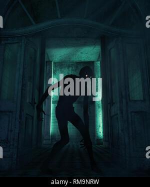 Creepy monster en una casa embrujada,3D rendering Imagen De Stock