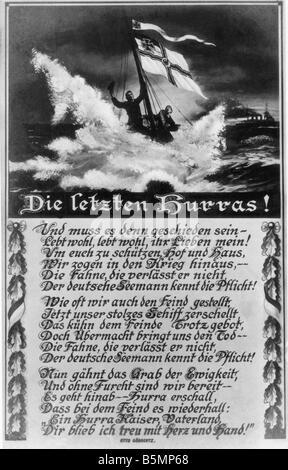 9 1914 12 8 A1 1 Batalla de las Islas Malvinas 1914 Postal Guerra Mundial 1 Guerra Naval batalla naval en las Islas Imagen De Stock