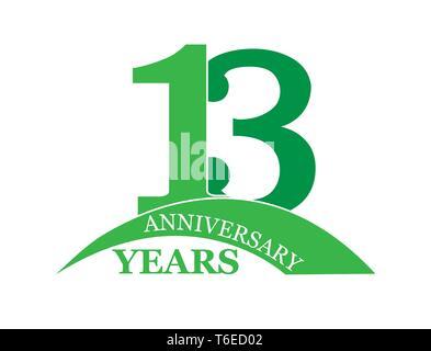 13 años aniversario, plano sencillo diseño, el logotipo Imagen De Stock