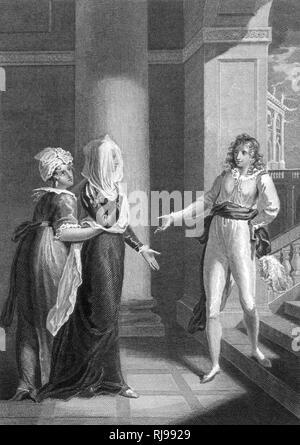 Acto I, escena V Viola, disfrazada como un muchacho, entra en la casa de Olivia Imagen De Stock