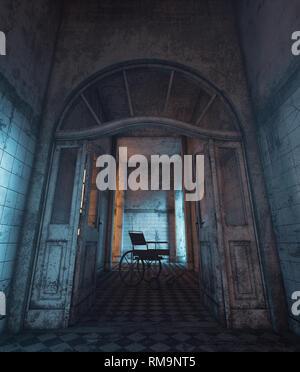 Representación 3D de una silla de ruedas en casa embrujada o asilo Imagen De Stock