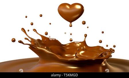 Gota de chocolate en forma de corazón. Ilustración 3D Imagen De Stock