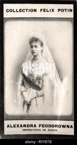 Retrato fotográfico de Alexandra Feodorowna Impratrice De Russie de colección Félix Potin, de principios del siglo XX. Imagen De Stock