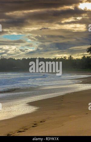 , Hanalei Hanalei Bay, Hawai, Kauai Beach, nubes, sunset Imagen De Stock