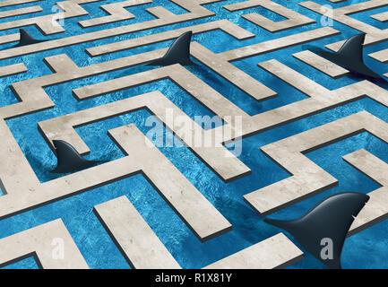 Reto empresarial de riesgo y seguros como símbolo un laberinto infestado de piscina con tiburones peligrosos con ilustración 3D elementos. Imagen De Stock