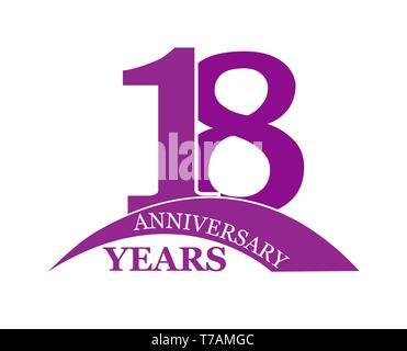 18 años aniversario, plano sencillo diseño, el logotipo Imagen De Stock
