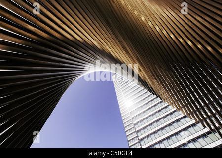 El DZ BANK Tower, SELMI- ciudad de rascacielos, de 142 metros de alto, creativo, urbanos, Platz der Republik, Frankfurt Imagen De Stock