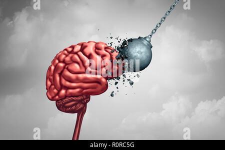 Fuerza mental y la tenacidad de la mente como un poder cerebral neurología psicología o psiquiatría concepto como un símbolo de memoria o inteligencia de salud. Imagen De Stock