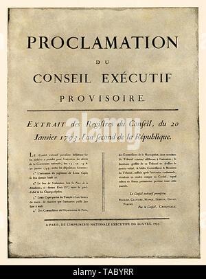 Anuncio de la orden de ejecución de Luis XVI, la Revolución Francesa de 1793. Con un lavado de acuarela de semitono Imagen De Stock