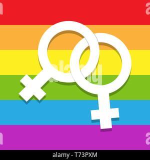 Dos símbolos femeninos entrelazados en un fondo de colores, símbolo de lesbiana LGBT Imagen De Stock
