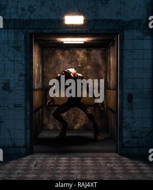 Hombre lobo en un ascensor,3D rendering para la portada del libro o la ilustración de libros Imagen De Stock