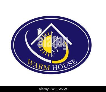 Icono oval plana. El logotipo de la empresa con las palabras cálidas House. Imagen De Stock