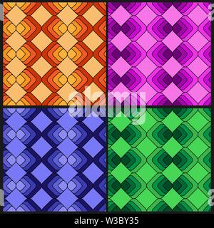Conjunto de patrones sin fisuras de múltiples colores de cuadrados de color. Modernos colores aleatorios. Ideal para textiles, embalajes, papel de impresión, procedencias y sencilla Imagen De Stock