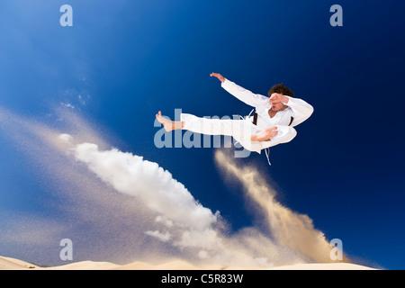 Un artista marcial en pleno vuelo. Imagen De Stock