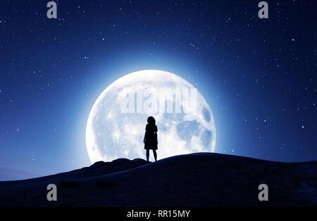 Chica mirando la luna en la noche estrellada,3D rendering Imagen De Stock
