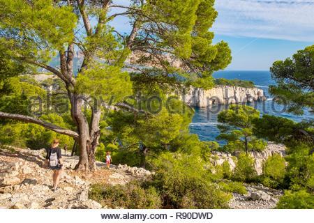 France, Bouches du Rhône, Cassis, l'anse de Port Pin, Parc National des Calanques Photo Stock