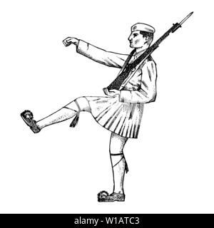 Les militaires en armes et en forme. L'homme grec dans une jupe. La Grèce et les particularités culturelles. Croquis dessinés à la main, gravée dans un style vintage. Photo Stock