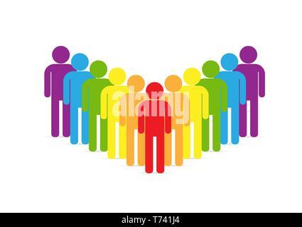 Défilé de le mouvement LGBT. Les personnes LGBT des silhouettes en couleurs, modèle plat Photo Stock