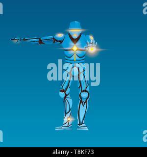 Cyborg homme élégant. Robot humanoïde avec l'intelligence artificielle, AI. caractère montre les gestes. Photo Stock