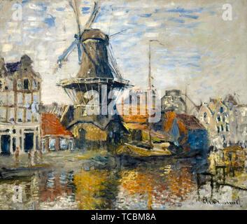 Claude Monet, le moulin sur l'Onbekende Gracht, Amsterdam, peinture, 1874 Photo Stock