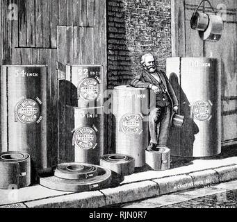 """Illustration montrant des échantillons de """"machines"""" Gandy, courroies faites par Maurice Gandy. Ceci a été fait de toile de coton américain tissé pliées et huilées. À partir de l'Album Royal des Arts et industries de Grande-Bretagne, Wyman & Sons, London, 1887 Photo Stock"""