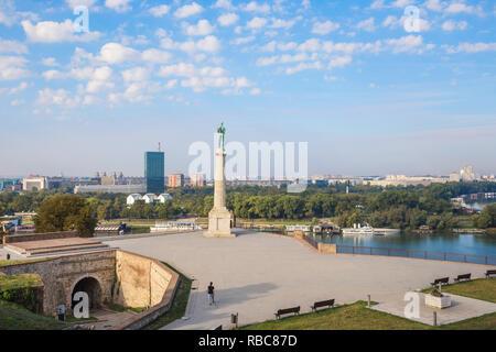 Serbie, Belgrade, parc de Kalemegdan, Victor Monument de la forteresse de Belgrade Photo Stock