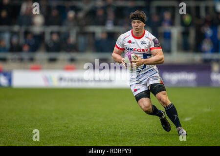 Stade AJ Bell, Salford, Royaume-Uni. 19 Jan, 2019. European Challenge Cup rugby, vente par rapport à Perpignan ; Ben Curry de Sale Sharks : Action Crédit Plus Sport/Alamy Live News Photo Stock