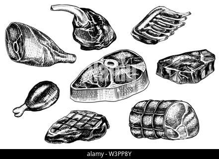 La viande de boeuf, escalope de porc, cuisse de poulet, viande, bacon et des côtes. Barbecue dans le style vintage. Des modèles de menu de restaurant, emblèmes ou badges. Part Photo Stock
