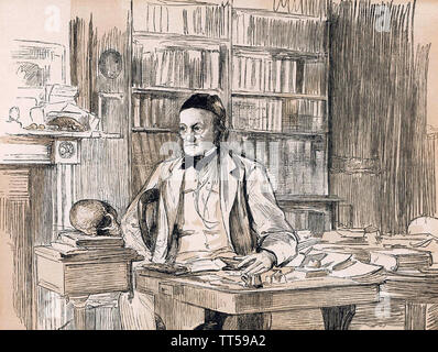 RICHARD OWEN (1804-1892) biologiste anglais et comparative anatomist dans son étude sur 1875 Photo Stock