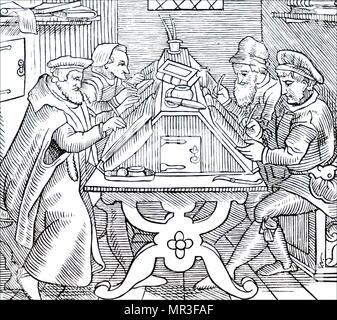 Gravure sur bois représentant des histographies imprimer écrit à un bureau en pente. En date du 16e siècle Photo Stock