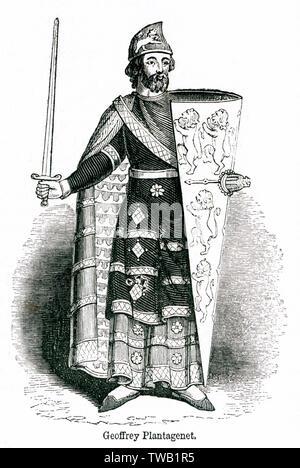 Geoffrey V (1113 - 1151), appelé le beau ou la Foire, Comte d'Anjou, père du Roi Henry II d'Angleterre. Date: Photo Stock