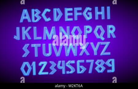 80 s néon bleu retro font. Script futuriste, chrome lettres. Alphabet d'impression lumineuse sur fond sombre. Symboles de la lumière de nuit show en club. Galaxy Photo Stock