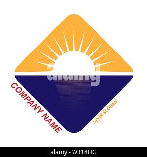 Modèle pour le logo de la société de voyage, billet d'entreprise, modèle plat Photo Stock