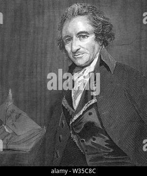 THOMAS PAINE (1737-1809) anglais-américain né le théoricien politique et philosophe Photo Stock