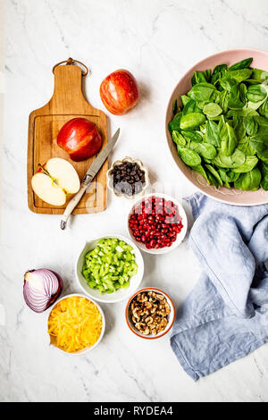 Les ingrédients de la salade de pomme Photo Stock