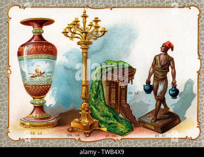 Illustration de catalogue, vase, broderie, statue, piédestal, chandelier. 55. Vase en porcelaine réalisés dans l'usine impériale à Yildiz, donnés par le Sultan. 56. Châle brodé ancien, donné par le Sultan. 57. Statue en bronze d'un porteur d'eau, Prix de Rome, don de l'épouse du Khédive d'Egypte. 58. Guéridon en style arabe, incrustés d'ivoire, donnés par le Khevide d'Égypte. 59. Chandelier en bronze d'or, donné par Selim Efendi Melhamed, Ministre de l'Agriculture, des Mines et des forêts. Date: vers 1890 Photo Stock