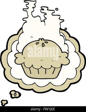 Freehand appelée bulle pensée cartoon pie Photo Stock