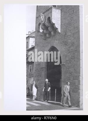 République de Saint-Marin Saint-Marin Porta di S. Francesco, c'est mon l'Italie, l'Italie Pays de l'histoire visuelle, Cité Médiévale xive siècle marqueur sculpté. Post-médiévale 15ème siècle porte d'entrée de ville Photo Stock