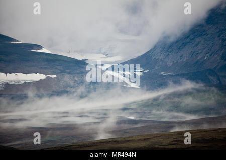 Paysage brumeux dans le Parc National de Dovrefjell, Dovre, la Norvège. Photo Stock