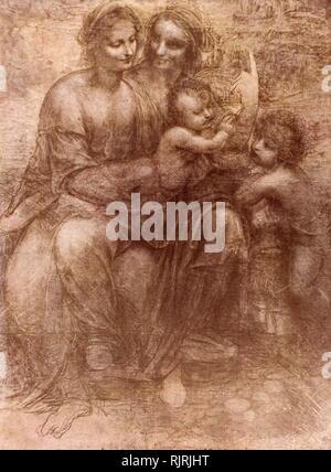 La Vierge et l'Enfant avec sainte Anne et Saint Jean Baptiste, que l'on appelle parfois la caricature de Burlington House, est un dessin de Léonard de Vinci. Le dessin est en noir et blanc et du charbon de bois, de craie sur huit feuilles de papier collées ensemble. Le dessin représente la Vierge Marie assise sur les genoux de sa mère, Sainte Anne, tout en tenant l'Enfant Jésus comme Jésus' jeune cousin, Saint Jean Baptiste, se dresse sur la droite. Il est actuellement accroché à la National Gallery de Londres. C'était soit exécuté dans autour de 1499-1500 Photo Stock