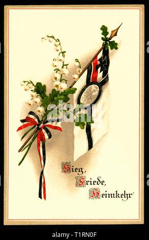 """L'Allemagne, l'Scleswig-Holstein, Flensburg, LA PREMIÈRE GUERRE MONDIALE, la propagande patriotique, carte postale avec ce qu'on appelle Reichskriegsflagge et les mots ' Sieg - Friede - Heimkehr"""" (la victoire - Paix - retour à la maison), a envoyé 28. 09. 1915. , Additional-Rights Clearance-Info-Not-Available- Photo Stock"""