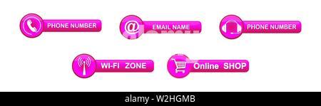 Ensemble de boutons de rose, avec les symboles pour les sites web et applications. Photo Stock