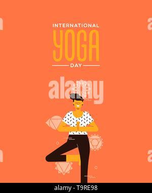 Carte de souhaits Jour Yoga de posture de l'arbre dans l'exercice de style dessin animé télévision moderne. Photo Stock