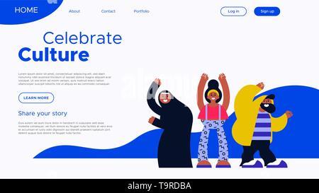 Célébrer la culture landing page modèle avec divers groupe ami illustration. Communauté internationale projet web concept. Photo Stock