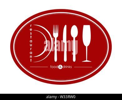Modèle de conception et la décoration de restaurant, restauration ou service gastro, modèle plat Photo Stock